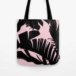 Unique Black and Pink Tropical Banana Leaves Pattern Tote Bag
