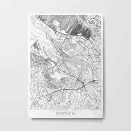 Bremen Map White Metal Print