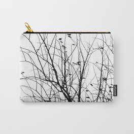 Black white tree branch bird nature pattern Carry-All Pouch