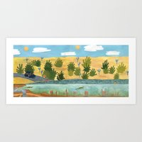 swimming Art Prints featuring Swimming by Bridie Cheeseman
