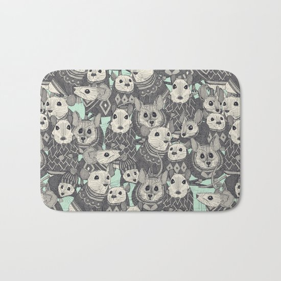 sweater mice mint Bath Mat