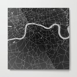 London Black on Gray Street Map Metal Print