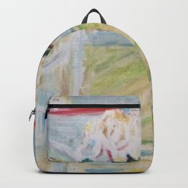 Almond blossoms in the glass Backpack