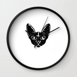 satan devil loves me cat devilish hell loves Wall Clock