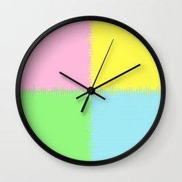 QUARTERS #1 (Pink, Light Blue, Light Green & Light Yellow) Wall Clock