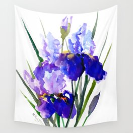 Garden Irises, Blue Purple Floral Design Wall Tapestry