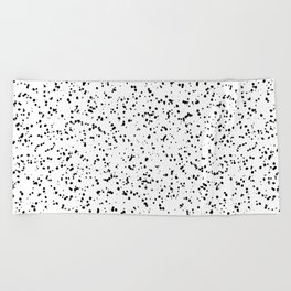 Speckles I: Double Black on White Beach Towel