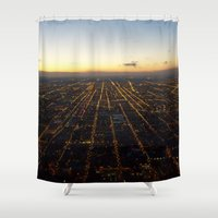 skyline Shower Curtains featuring Skyline by Mints&Bees