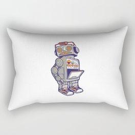 robot machine apocalypse cute mechanoid mechanical toy antena toon illustration cyborg child fiction Rectangular Pillow