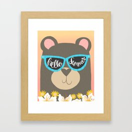 Hello Summer Bear Framed Art Print