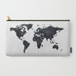 World Map in Black and White Ink on Paper Carry-All Pouch
