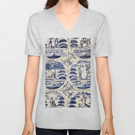 Dutch Delft Blue Tiles Unisex V-Neck