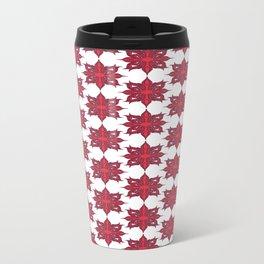 Flowery Red Metal Travel Mug