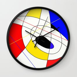 Incomplete Primary - Red, yellow, black, white, blue abstract artwork Wall Clock
