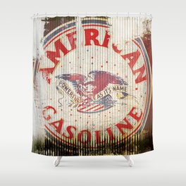 American Gasoline - Vintage Label Shower Curtain
