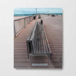 Coney Island Pier Bench Metal Print
