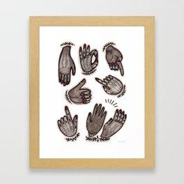 hand gestures and white henna tattoo Framed Art Print