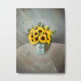 Jar of Sunflowers Metal Print