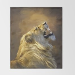 Roaring lion portrait Throw Blanket