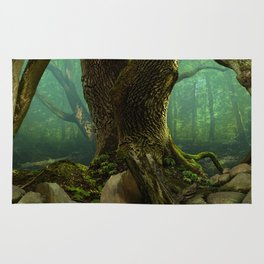 Old mysterious forest panorama Rug
