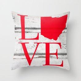 Ohio Love Wood Print Throw Pillow