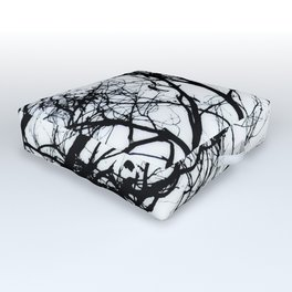 Dove Bird & Winter tree Silhouette Outdoor Floor Cushion