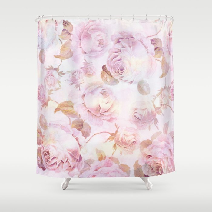 delicate pink roses Shower Curtain by clemm | Society6