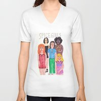 spice girls V-neck T-shirts featuring The Spice Girls by Angela Dalinger