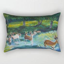 Walking through a Sapphire River Rectangular Pillow
