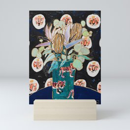 Dark Floral Still Life with Banksia Pods and Tigers Mini Art Print