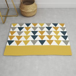Arrows Cuff - Minimalist Geometric Color Block Pattern in Light and Dark Mustard, Grey, Navy Blue, and White Rug