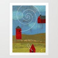 Barn Conversation Two Art Print