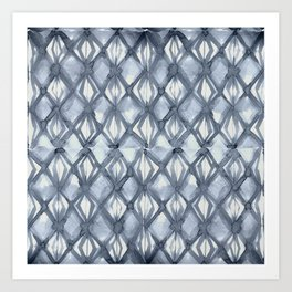 Braided Diamond Indigo Blue on Lunar Gray Art Print