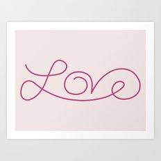 Love calligraphy print - pale pink background with deep pink  Art Print