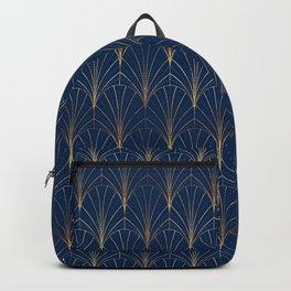 Art Deco Waterfalls // Navy Blue Backpack
