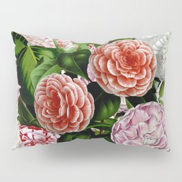 Vintage & Shabby Chic Green Large Dark Floral Camellia  Flowers Watercolor Pattern Pillow Sham