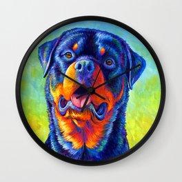 Gentle Guardian Colorful Rainbow Rottweiler Dog Wall Clock