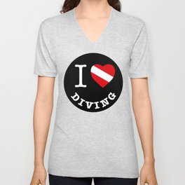 I Love Diving, Scuba Diving t-shirt, diving sticker Unisex V-Neck
