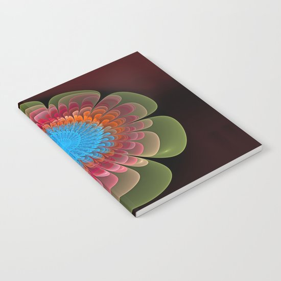 Colourful fantasy flower with a spiral heart Notebook