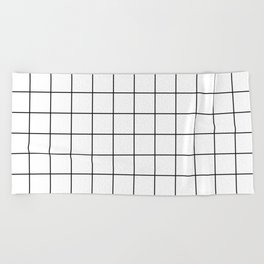 Grid Simple Line White Minimalist Beach Towel