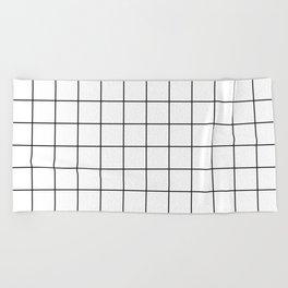 Grid Stripe Lines Black and White Minimalist Geometric Beach Towel