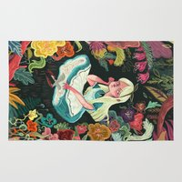 mad Area & Throw Rugs featuring Alice in Wonderland by Karl James Mountford