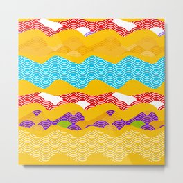 Summer bright pattern  scales simple Nature background with Chinese wave circle pattern Metal Print