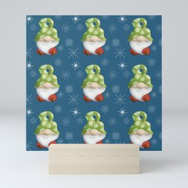 Blue Winter Gnome Pattern Mini Art Print