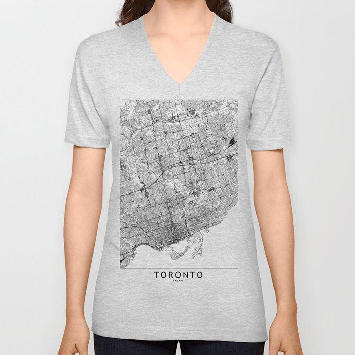 Toronto White Map Unisex V-Neck