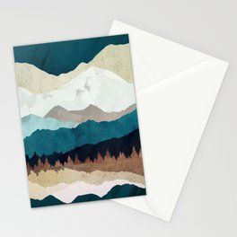 Fall Forest Night Stationery Cards