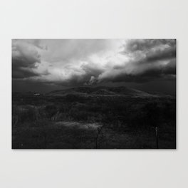 View of a storm in black and whie Canvas Print