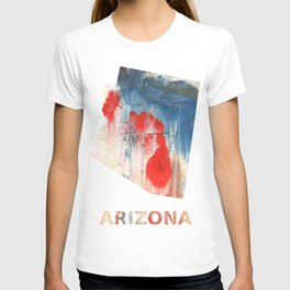 Arizona map outline Red Blue nebulous watercolor T-shirt