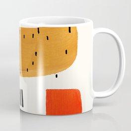 Mid Century Modern Abstract Minimalist Retro Vintage Style Fun Playful Ochre Yellow Ochre Orange Sha Coffee Mug