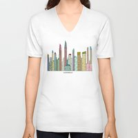 san diego V-neck T-shirts featuring San Diego skyline  by bri.buckley